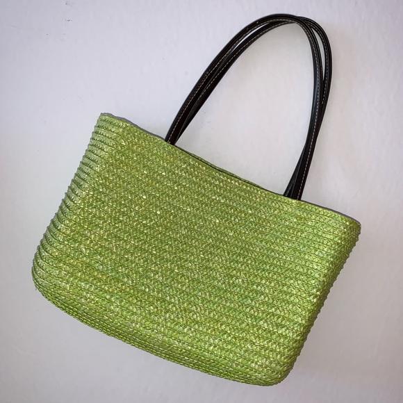 Handbags - Green Wheat Straw Mini Beach Bag Boho Purse